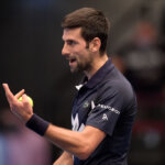 VIENNA, AUSTRIA - OCTOBER 30: Novak Djokovic of Serbia reacts during his quarter finals match against Lorenzo Sonego of Italy on day seven of the Erste Bank Open tennis tournament at Wiener Stadthalle on October 30, 2020 in Vienna, Austria. (Photo by Thomas Kronsteiner/Getty Images)