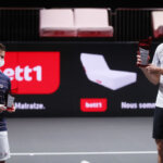 COLOGNE, GERMANY - OCTOBER 25: (L-R) Diego Schwartzman of Argentina poses with the trophy for the second winner and Alexander Zverev of Germany poses with the winning trophy on the podium after the final match between Alexander Zverev of Germany and Diego Schwartzman of Argentina of day seven of the Bett1Hulks Championship Tennis Tournament at Lanxess Arena on October 25, 2020 in Cologne, Germany. (Photo by Christof Koepsel/Getty Images)