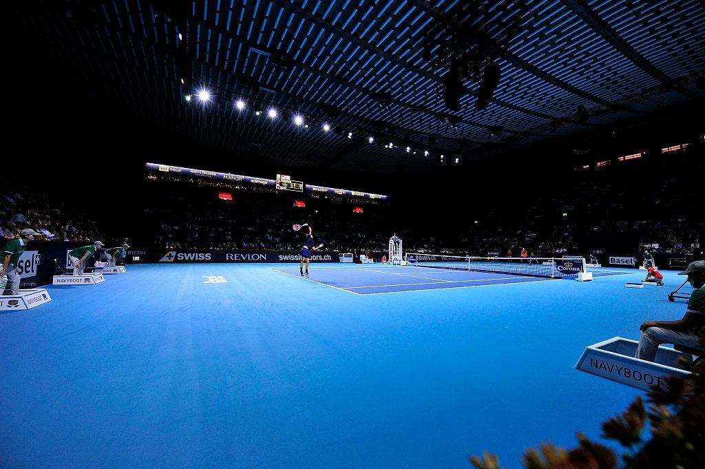 BASEL, SWITZERLAND - OCTOBER 31:  Roger Federer of Switzerland serves during the sixth day of the Swiss Indoors ATP 500 tennis tournament against Jack Sock of US at St Jakobshalle on October 31, 2015 in Basel, Switzerland.  (Photo by Harold Cunningham/Getty Images)