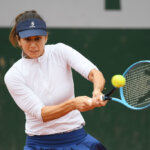 PARIS, FRANCE - SEPTEMBER 28: Tsvetana Pironkova of Bulgaria plays a backhand during her Women's Singles first round match against Andrea Petkovic of Germany on day two of the 2020 French Open at Roland Garros on September 28, 2020 in Paris, France. (Photo by Shaun Botterill/Getty Images)