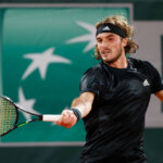 PARIS, FRANCE - OCTOBER 09: Stefanos Tsitsipas of Greece plays a forehand during his Men's Singles semifinals match against Novak Djokovic of Serbia on day thirteen of the 2020 French Open at Roland Garros on October 09, 2020 in Paris, France. (Photo by Clive Brunskill/Getty Images)