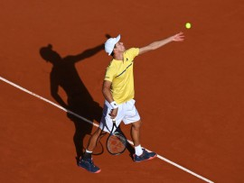 PARIS, FRANCE - OCTOBER 03: Daniel Altmaier of Germany serves during his Men's Singles third round match against Matteo Berrettini of Italy on day seven of the 2020 French Open at Roland Garros on October 03, 2020 in Paris, France. (Photo by Shaun Botterill/Getty Images)