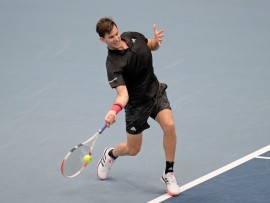 VIENNA, AUSTRIA - OCTOBER 27: Dominic Thiem of Austria plays a forehand during his match against Vitaliy Sachko of Ukraine on day four of the Erste Bank Open tennis tournament at Wiener Stadthalle on October 27, 2020 in Vienna, Austria. (Photo by Thomas Kronsteiner/Getty Images)