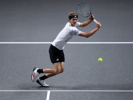 COLOGNE, GERMANY - OCTOBER 23: Alexander Zverev of Germany plays a backhand during the match between Alexander Zverev of Germany and Adrian Mannarino of France of day five of the Bett1Hulks Championship Tennis Tournament at Lanxess Arena on October 23, 2020 in Cologne, Germany. (Photo by Christof Koepsel/Getty Images)