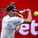 COLOGNE, GERMANY - OCTOBER 18: Alexander Zverev of Germany plays a backhandk during the final match between Alexander Zverev of Germany and Felix Auger-Aliassime of Canada of day seven of the Bett1Hulks Indoor tennis tournament at Lanxess Arena on October 18, 2020 in Cologne, Germany. (Photo by Christof Koepsel/Getty Images)