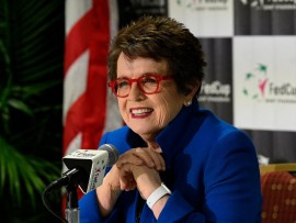 ASHEVILLE, NORTH CAROLINA - FEBRUARY 09: Tennis legend Billie Jean King speaks to the media before a first round 2019 Fed Cup match between the USA and Australia at U.S. Cellular Center on February 09, 2019 in Asheville, North Carolina. (Photo by Grant Halverson/Getty Images)