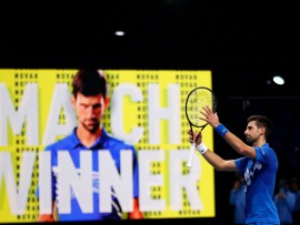 LONDON, ENGLAND - NOVEMBER 16: Novak Djokovic of Serbia celebrates after winning his singles match against Diego Schwartzman of Argentina on day two of the Nitto ATP World Tour Finals at The O2 Arena on November 16, 2020 in London, England. (Photo by Clive Brunskill/Getty Images)