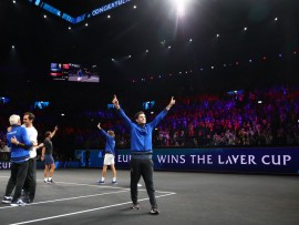 GENEVA, SWITZERLAND - SEPTEMBER 22: Dominic Thiem of Team Europe celebrates winning the Laver Cup following his team's victory in the final match of the tournament during Day Three of the Laver Cup 2019 at Palexpo on September 22, 2019 in Geneva, Switzerland. The Laver Cup will see six players from the rest of the World competing against their counterparts from Europe. Team World is captained by John McEnroe and Team Europe is captained by Bjorn Borg. The tournament runs from September 20-22. (Photo by Julian Finney/Getty Images for Laver Cup)