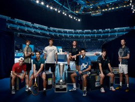 LONDON, ENGLAND - NOVEMBER 13: (EDITORS NOTE: This image has been digitally altered.) In this handout picture provided by ATP 2020 Nitto ATP Finals singles qualifiers from left to right: (L-R) Diego Schwartzman of Argentina, Andrey Rublev of Russia, Rafael Nadal of Spain, Alexander Zverev of Germany, Stefanos Tsitsipas of Greece, Novak Djokovic of Serbia, Dominic Thiem of Austria and Daniil Medvedev of Russia pose for a photo at The O2 Arena during previews for the Nitto ATP Finals at The O2 Arena on November 13, 2020 in London, England. (Photo by Wonderhatch/ATP via Getty Images)