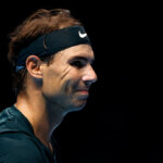 LONDON, ENGLAND - NOVEMBER 17:  Rafael Nadal of Spain reacts during his singles match against Dominic Thiem of Austria during day three of the Nitto ATP World Tour Finals at The O2 Arena on November 17, 2020 in London, England. (Photo by Clive Brunskill/Getty Images)