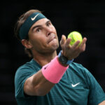 PARIS, FRANCE - NOVEMBER 5: Rafael Nadal of Spain in action against Jordan Thompson of Australia during day 4 of the Rolex Paris Masters, an ATP Masters 1000 tournament held behind closed doors at AccorHotels Arena formerly known as Paris Bercy on November 5, 2020 in Paris, France. (Photo by Jean Catuffe/Getty Images)
