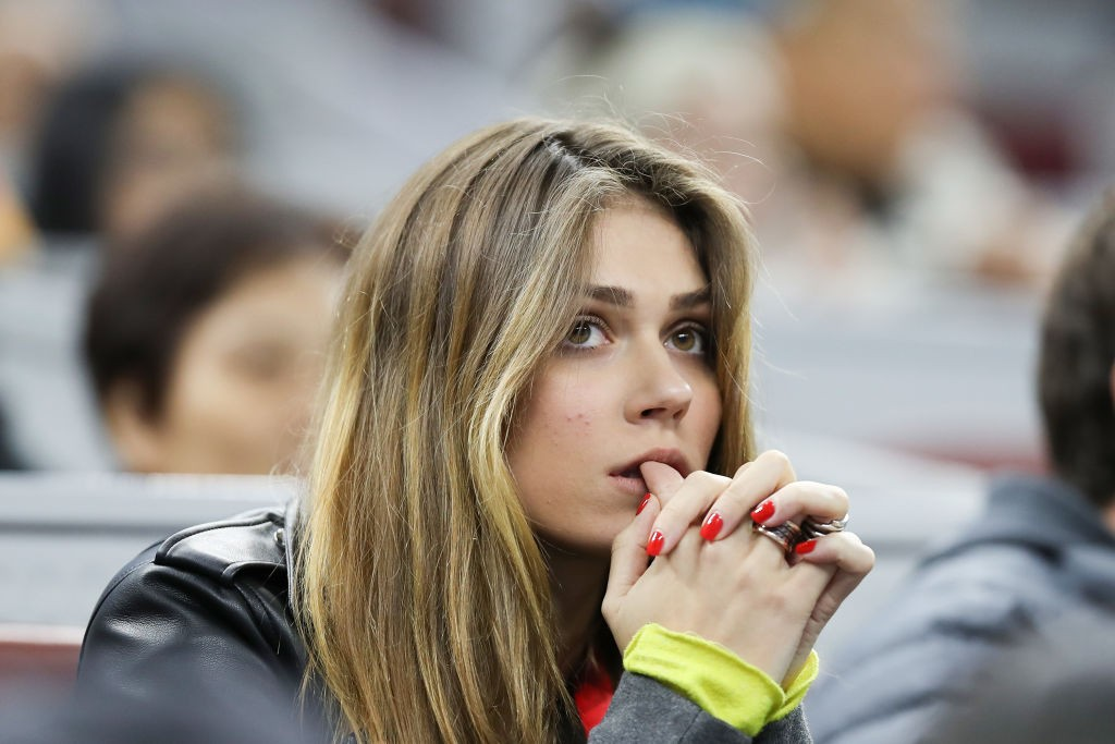 BEIJING, CHINA - OCTOBER 05: Olga Sharypova, girlfriend of Alexander Zverev of Germany, watches him play his Men's singles Semifinals match against Stefanos Tsitsipas of Greece at the China National Tennis Center on October 05, 2019 in Beijing, China. (Photo by Emmanuel Wong/Getty Images)