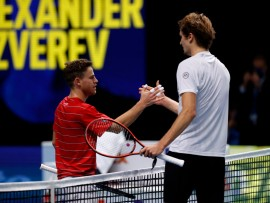 LONDON, ENGLAND - NOVEMBER 18:  Diego Schwartzman of Argentina congratulates Alexander Zverev of Germany after their singles match on Day 4 of the Nitto ATP World Tour Finals at The O2 Arena on November 18, 2020 in London, England. (Photo by Clive Brunskill/Getty Images)