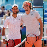 BELGRADE, SERBIA - JUNE 14: Novak Djokovic (L) of Serbia and Alexander Zverev (R) of Germany pose for a photo prior to the Adria Tour charity exhibition hosted by Novak Djokovic on June 14, 2020 in Belgrade, Serbia. (Photo by Srdjan Stevanovic/Getty Images)