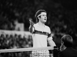 American tennis player John McEnroe talks to the referee during a match at the Benson & Hedges Tennis Championships, Wembley Arena, London, UK, 13th November 1980. (Photo by Tony Weaver/Evening Standard/Getty Images)