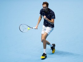 LONDON, ENGLAND - NOVEMBER 18:  Daniil Medvedev of Russia  during his singles match against Novak Djokovic of Serbia  during Day 4 of the Nitto ATP World Tour Finals at The O2 Arena on November 18, 2020 in London, England. (Photo by Clive Brunskill/Getty Images)