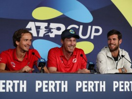 PERTH, AUSTRALIA - JANUARY 07: Daniil Medvedev, Marat Safin and Karen Khachanov of Team Russia address the media during day five of the 2020 ATP Cup Group Stage at RAC Arena on January 07, 2020 in Perth, Australia. (Photo by Paul Kane/Getty Images)