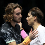 LONDON, ENGLAND - NOVEMBER 15: Rafael Nadal of Spain and Stefanos Tsitsipas of Greece embrace at the net after their singles match during Day Six of the Nitto ATP Finals at The O2 Arena on November 15, 2019 in London, England. (Photo by Linnea Rheborg/Getty Images)