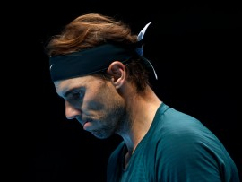 LONDON, ENGLAND - NOVEMBER 21:  Rafael Nadal of Spain reacts during his singles semi final match against Daniil Medvedev of Russia during day seven of the Nitto ATP World Tour Finals at The O2 Arena on November 21, 2020 in London, England. (Photo by Clive Brunskill/Getty Images)